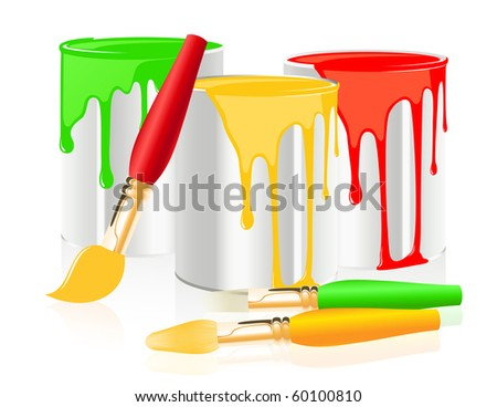 Paintbrushes and paintcan, vector illustration - stock vector