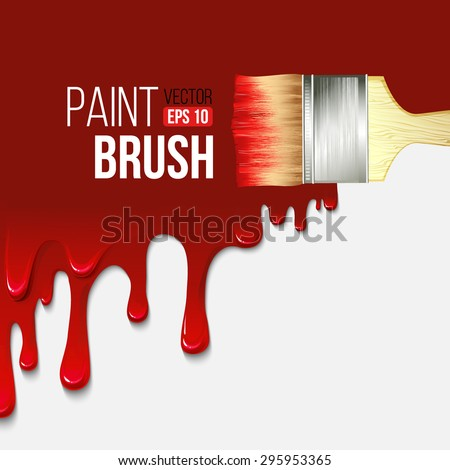 Paintbrushes with dripping paint. Vector illustration EPS 10 - stock vector