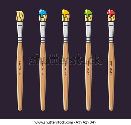 Paintbrushes with paint in different colors, vector icons set. - stock vector