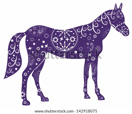 Painted blue horse.Illustration with decorative pattern - stock vector