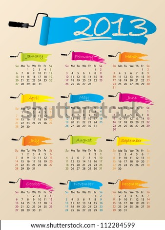 Painted 2013 calendar design on pale background - stock vector
