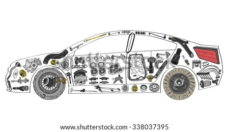 Painted car and built from a variety of parts - stock vector
