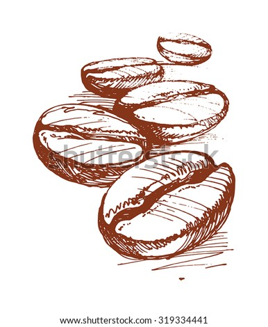 Painted Coffee Beans Sketch Vector Drawing Stock Vector 346199048 - Shutterstock