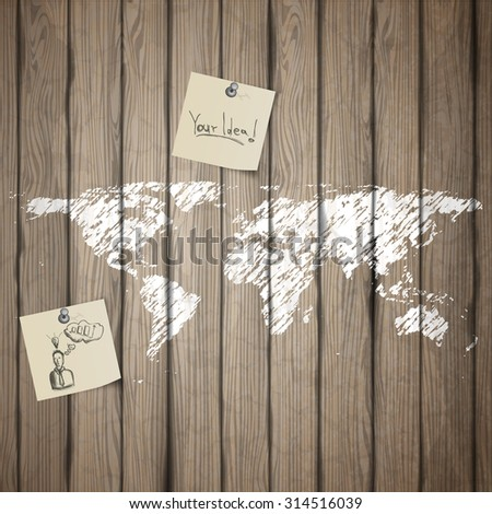 Painted Earth map on old wood board with note paper. Realistic Vector - stock vector