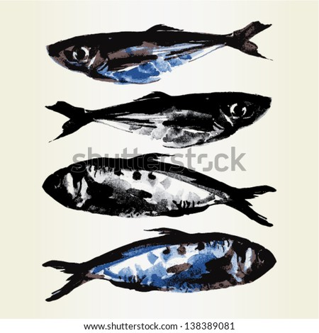 painted fish, vector illustration - stock vector