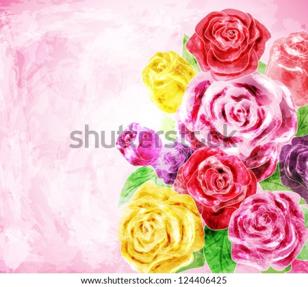Painted flower background, vector illustration - stock vector