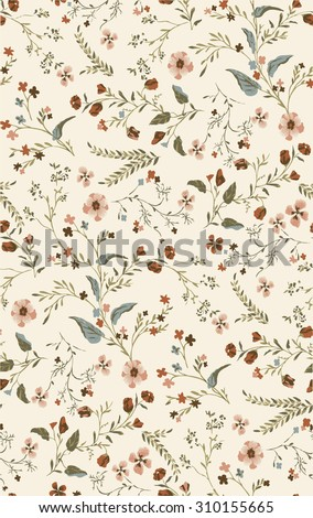 Painted flowers ~ seamless vector background