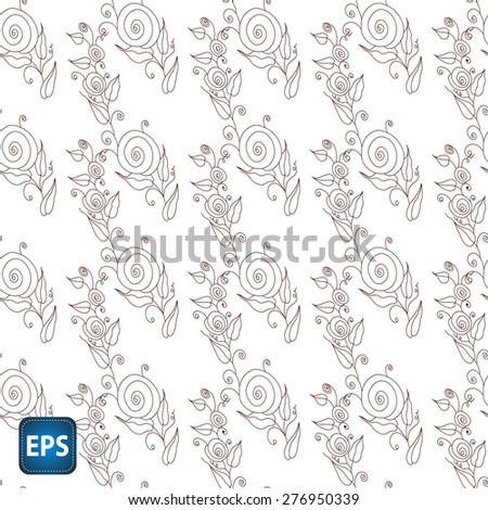 Painted flowers. Seamless vector background. EPS 10