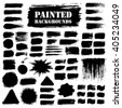 Painted grunge strips set. Textured labels, long banners. Burst background, paint distress texture. Brush strokes vector. Triangle, square and round shape. Torn design elements. Black stripes and star - stock vector