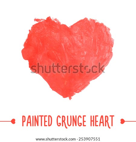 Painted hand drawn grunge heart. Vector illustration - stock vector