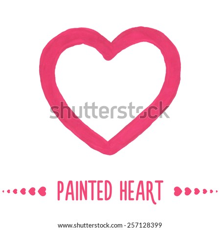 Painted hand drawn outlined pink heart. Vector illustration - stock vector