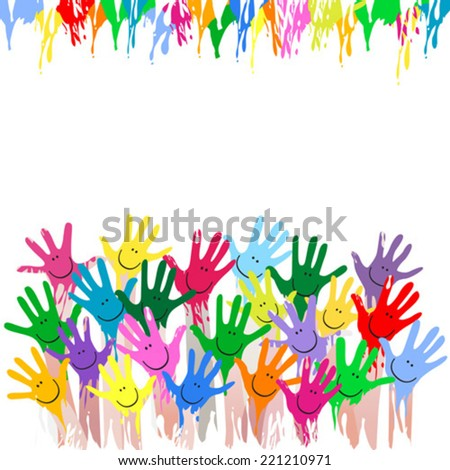 painted hands background - stock vector