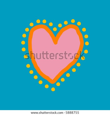 Painted heart in blue, yellow, orange and pink - stock vector