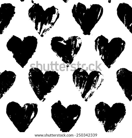 Painted heart pattern - stock vector