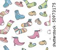 Painted lovely socks and shoes, seamless design pattern for children. Preferably the textile use, such as printing on clothing. Easy editable, adobe illustrator 8.0 - stock vector