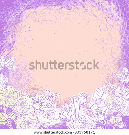 Painted roses on a purple background of strokes. The center of the composition is free of pattern. - stock vector