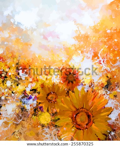 Painted sun flowers - stock vector
