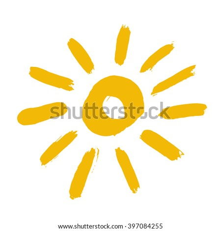 Painted sun icon. Yellow colour. Grunge design element for weather forecast website. Brush strokes texture. Distress vector illustration. Isolated on white background. Cute childish style sunny symbol - stock vector