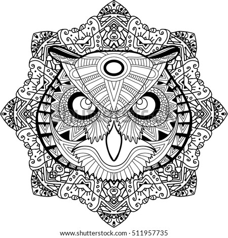 Painted The Owl On Background Tribal Mandala Patterns Element For Your Design Cards