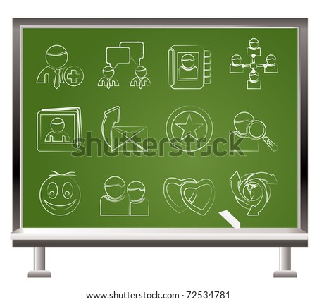 painted with chalk Internet Community and Social Network Icons - vector icon set - stock vector