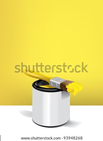 painter and paint bucket and brush basic colors - stock vector