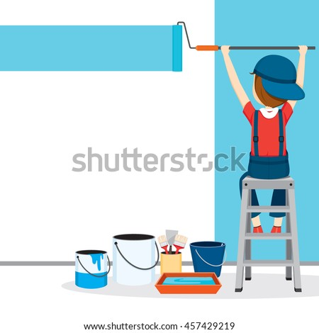 Painter Coloring Wall By Paintroller, People Occupations, Profession, Worker, Job, Duty - stock vector