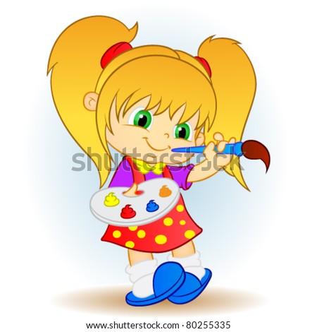 painter girl.illustration - stock vector