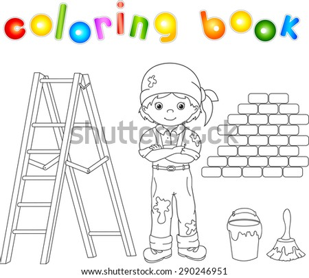 Painter With Easel Colouring Illustration