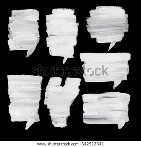 Painter set of speech bubble. It contains seven speech bubbles of different shapes and sizes. Speech bubbles white  and black background. - stock vector
