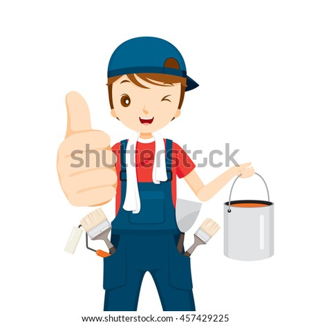 Painter Thumbs-Up With Color Bucket And Tools, People Occupations, Profession, Worker, Job, Duty - stock vector