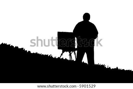 Painter with easel on a hill. Silhouette. - stock vector