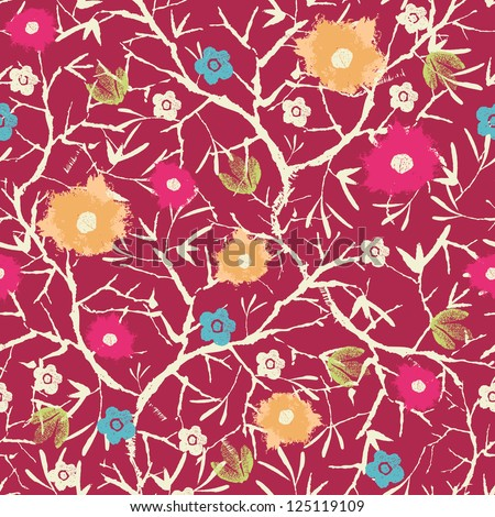 Painterly blossoming tree seamless pattern background - stock vector