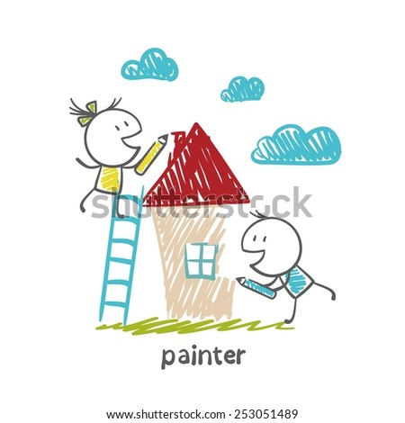 painters draw with crayons house illustration - stock vector