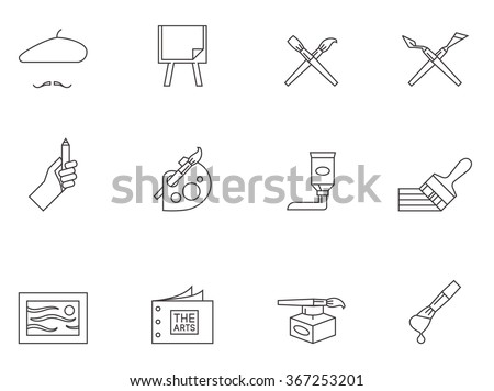 Painting artist icons in outlines. Artworks drawing brush  - stock vector