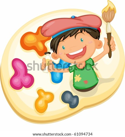 Painting boy - stock vector