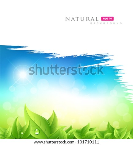 Painting brush green natural concept background, vector illustration