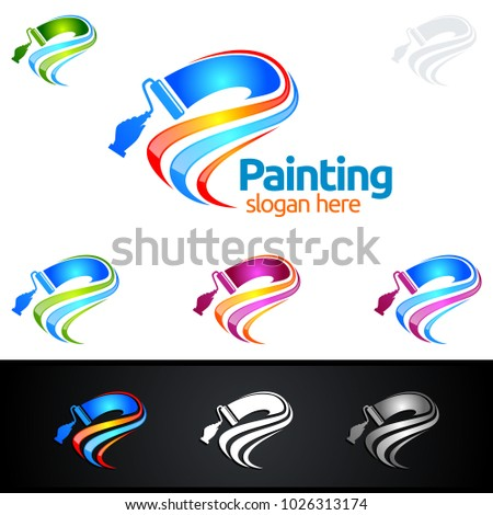 Painting Business Logo Stock Vector 1026313174