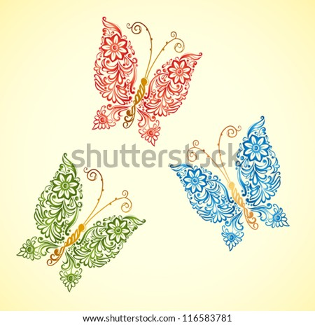 painting butterfly,swirl abstract element design - stock vector