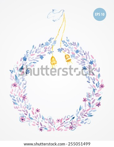 painting flowers frame, with golden bells and pigeon - stock vector