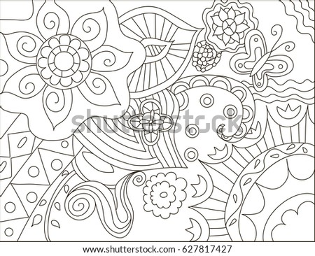 Painting Adult Anti Stress Coloring Page Stock Vector (Royalty Free ...