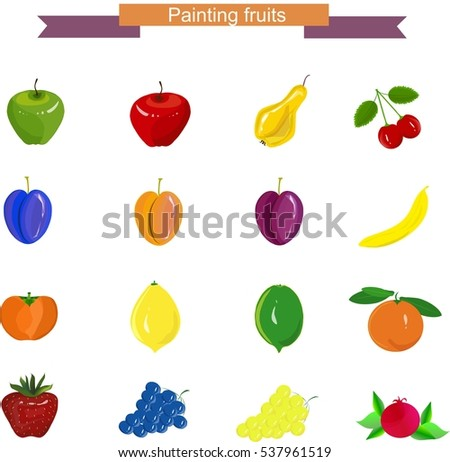 Painting fruits: apples, pear, grapes, cherry, banana, pomegranate, strawberry, persimmon, lime, lemon, apricot, orange on white, stock vector illustration