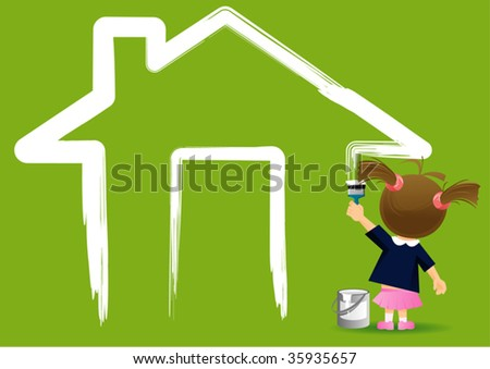painting girl - stock vector