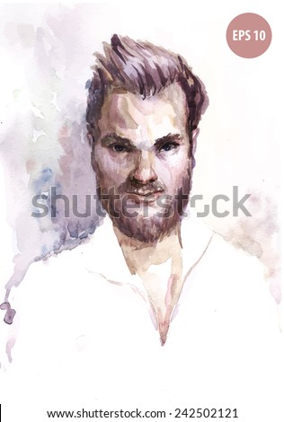 Painting guy, barber. Hipster face - stock vector