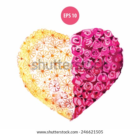Painting heart by flowers, sweet relationship. Wedding plants - stock vector
