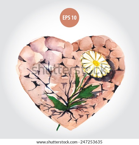 painting heart with flower, about psychology - stock vector