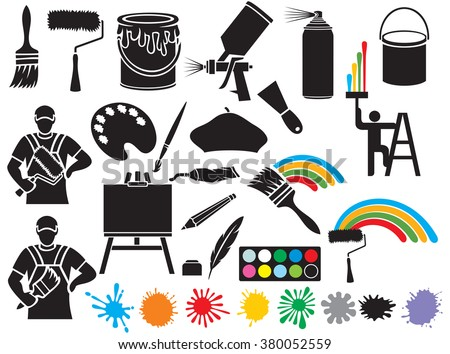 painting icons collection (brush, roller, beret, bucket, canvas on an easel, stains spray tin, art palette) - stock vector