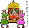 Painting of Two Man Carrying Bridal Palanquin India. Vector EPS file (Doli) - stock photo