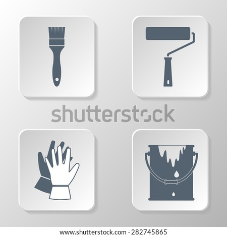 Painting set icon. Bucket paint, work gloves, brush and paint roller. Painting work. logo. - stock vector