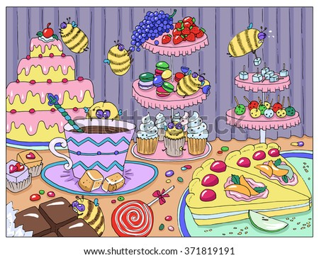 Painting with funny bees in sweetshop, hand drawn colorful illustration, artwork with sweets, cakes and candies, food and celebration theme - stock vector