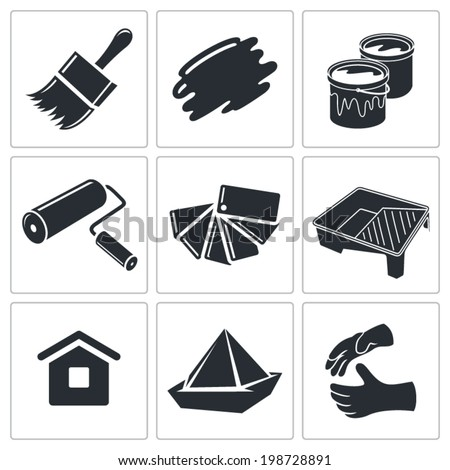 Painting work icon set - stock vector